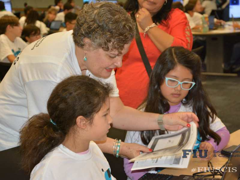Photo of Cristy Charters and students at CodeFest 2018
