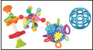 Malle à bébé Click clack ball à poignées, Atom teether toy, Mini spinny, 2 mini balles 9cm alvéolées