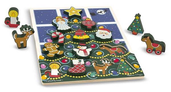 Puzzle encastrement Arbre de Noël 13 pièces bois