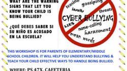 Parent Workshop: Busting Bullying / Preveniendo La Intimidacion