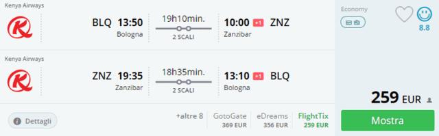 Предложение на седмицата: Двупосочни полети от Болоня до Занзибар от 259 Евро