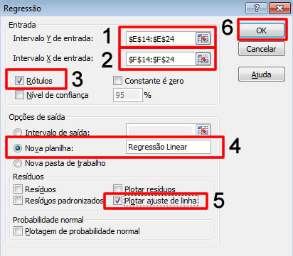 configurar analise regressao linear excel