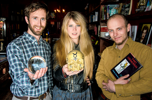 The future is crystal clear: Co-owners Phillip English and Joe Peterson, with astrologist Licorice Root, run an occult bookstore in Bushwick for the neighborhood's growing occult community.  Photo ©Stefano Giovannini