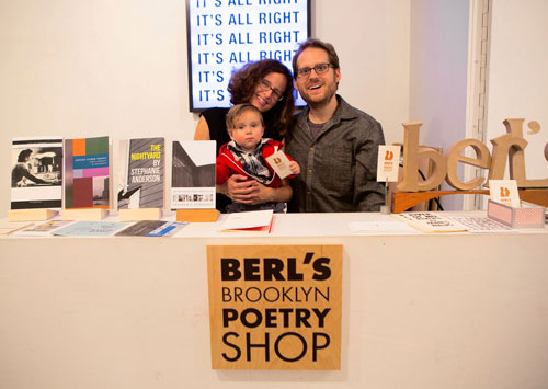 Too big to travel: Farrah Field and Jared White, here with their son Roman, opened Berl's Brooklyn Poetry Shop after selling their wares at the Brooklyn Flea Photo by Cassandra Giraldo