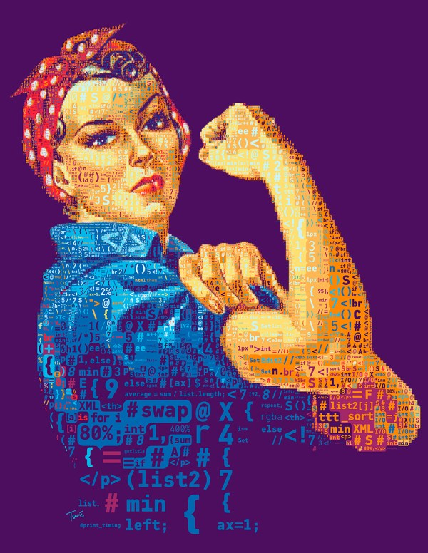 FILE: MotherJones_WeCanCodeIt TITLE: Yes We Can Code It CLIENT: Mother Jones COUNTRY: USA KIND: Editorial Illustration YEAR: 2014 DESCRIPTION: A mosaic portrait of Rosie the Riveter made out of code. Created by Charis Tsevis for an article on Mother Jones magazine about diversity and sexism in the IT world.