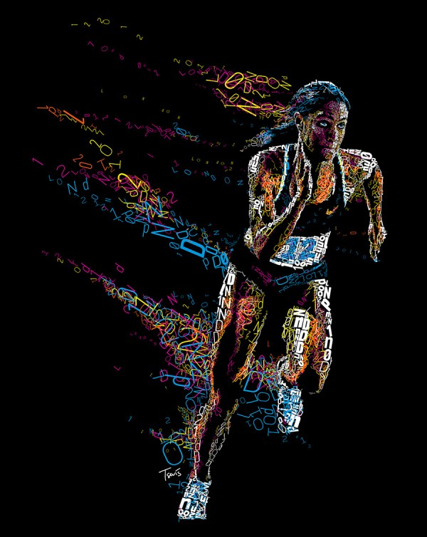 FILE: Experimental_L2012_Basket and Runner. TITLE: London 2012 series CLIENT: Personal project COUNTRY: Greece KIND: Experimental illustration YEAR: 2012 DESCRIPTION: A series of experimental typographical mosaics. Created during the London 2012 Olympics as a self initiated project