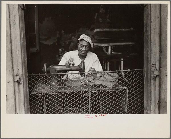 Ben Shahn - Scene in New Orleans, Louisiana. A street tailor – 1935 http://digitalcollections.nypl.org/items/7b8c4cf0-fc0d-0132-4b3d-58d385a7b928