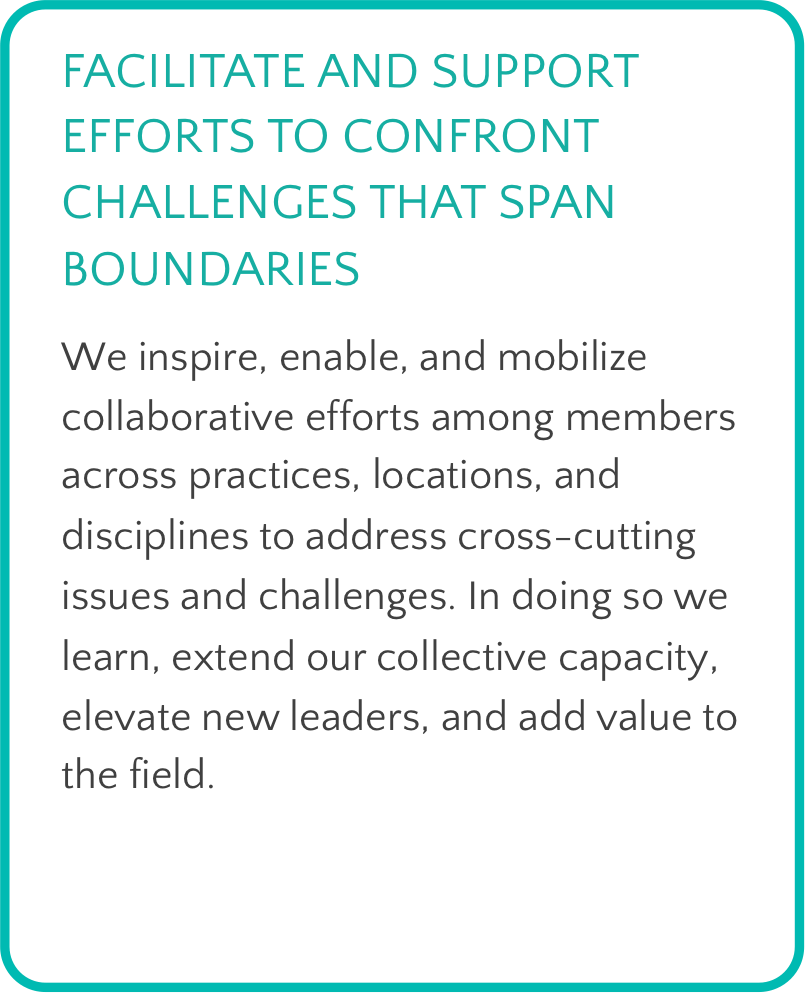 Text box with teal border. Header, in teal, reads: Facilitate and support efforts to confront challenges that span boundaries. Body text reads: We inspire, enable, and mobilize collaborative efforts among members across practices, locations, and disciplines to address cross-cutting issues and challenges. In doing so we learn, extend our collective capacity, elevate new leaders, and add value to the field.