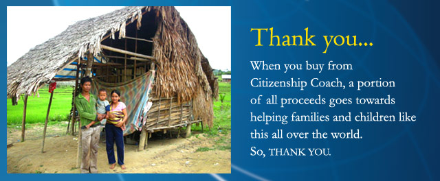 Your purchase of a citizenship test CD/MP3/DVD helps a child or a family like this.