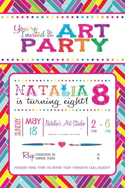 Art Party Invitation by Rosanna of Citlali Rose