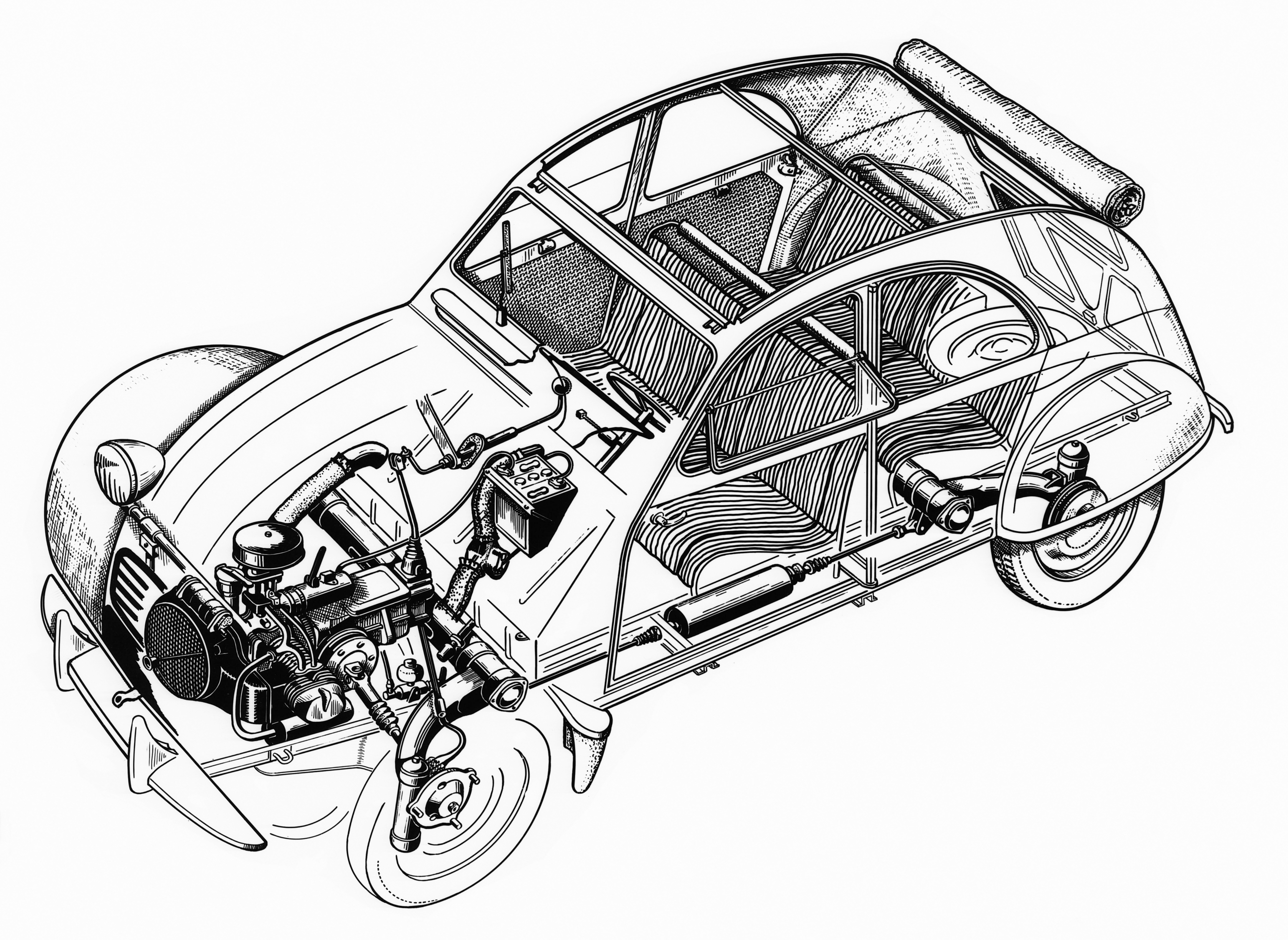 Citroen 2cv Ghosted Drawing