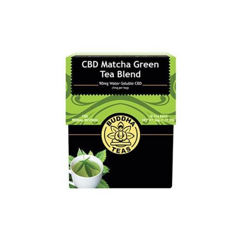 Buddha teas cbd tea matcha green tea blend x 18 tea bags 90mg cbd