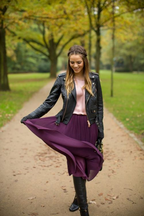 purple skirt, wearing purple