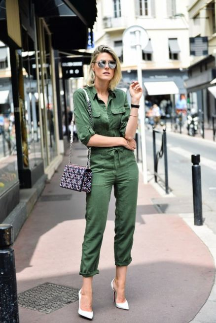 army green jumpsuit, green outfit
