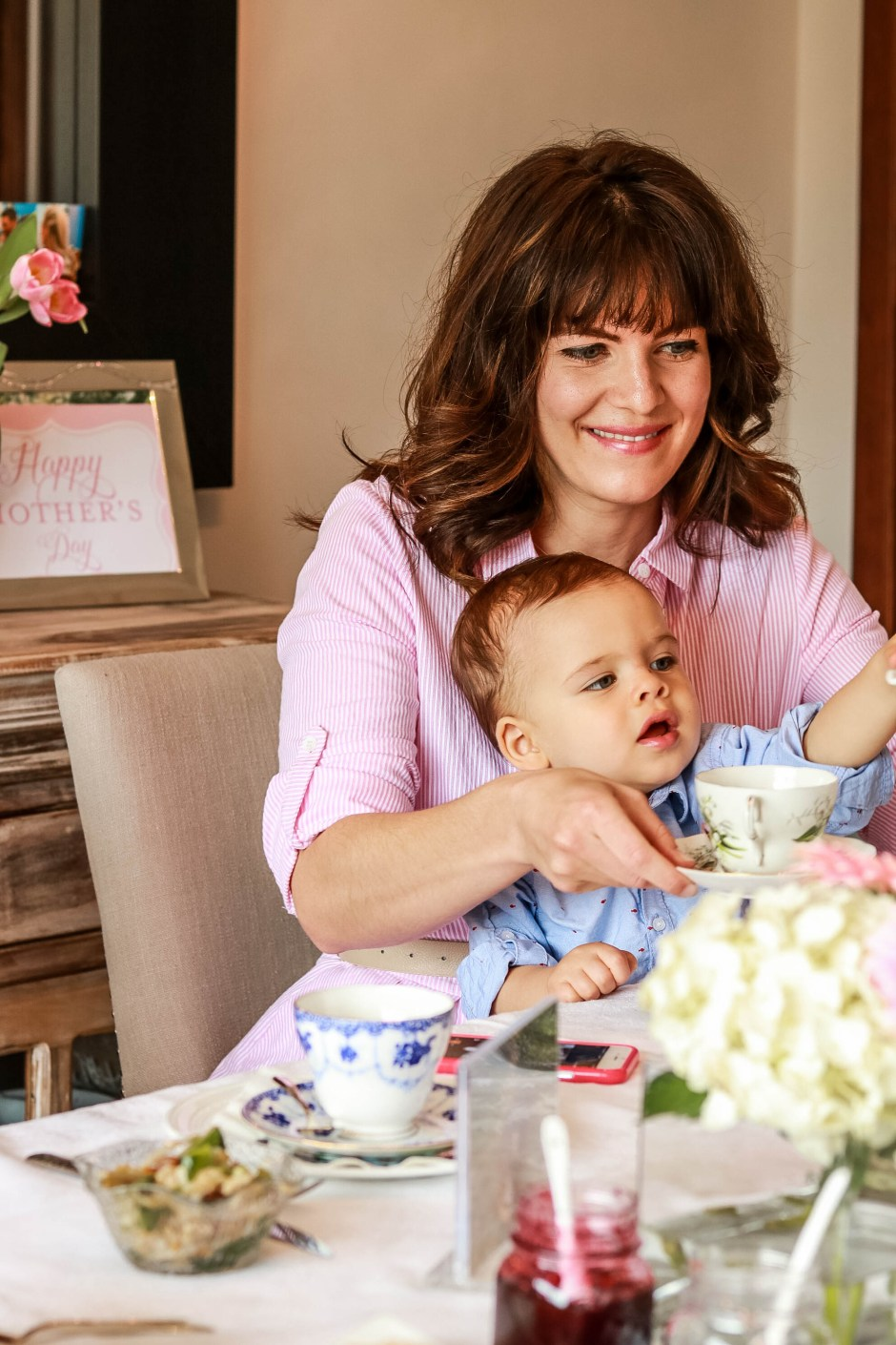mother's day afternoon tea with baby boy toddler, pink tripe dress