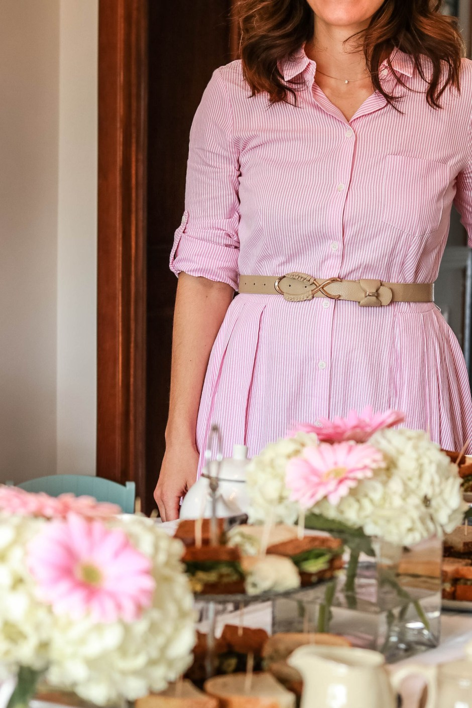 mother's day afternoon tea, pink stripe feminine dress outfit