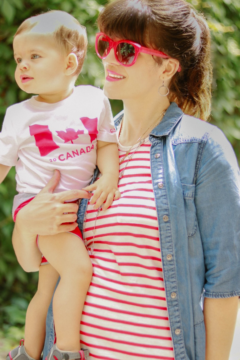 canada day outfit, red and white stripe knit dress with red accessoires with toddler style
