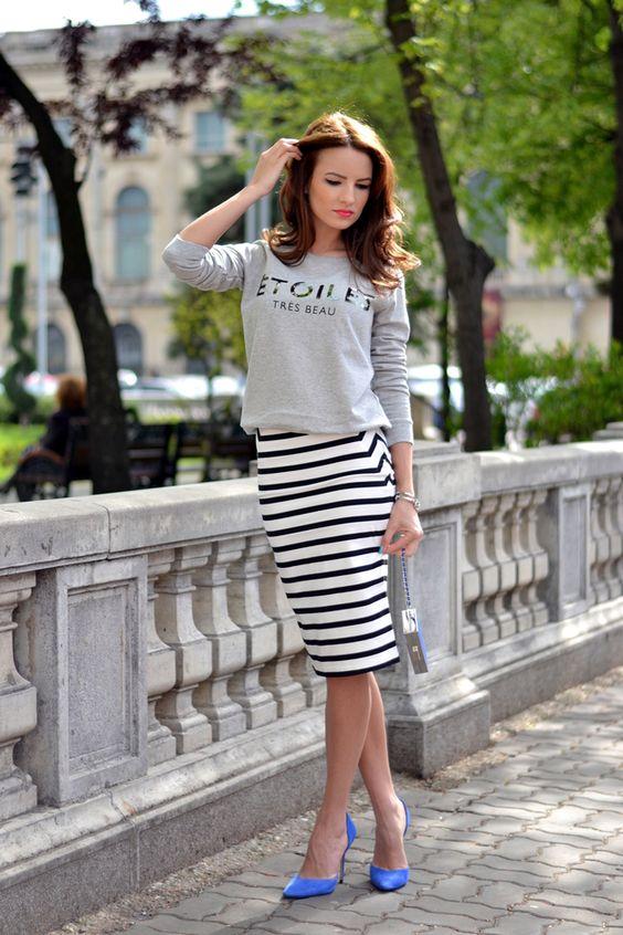 stripe knit dress worn as skirt