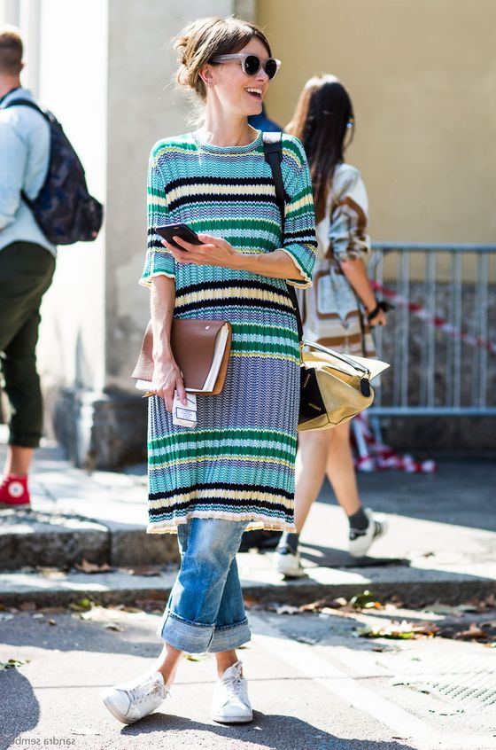 stripe knit dress over jeans, outfit ideas