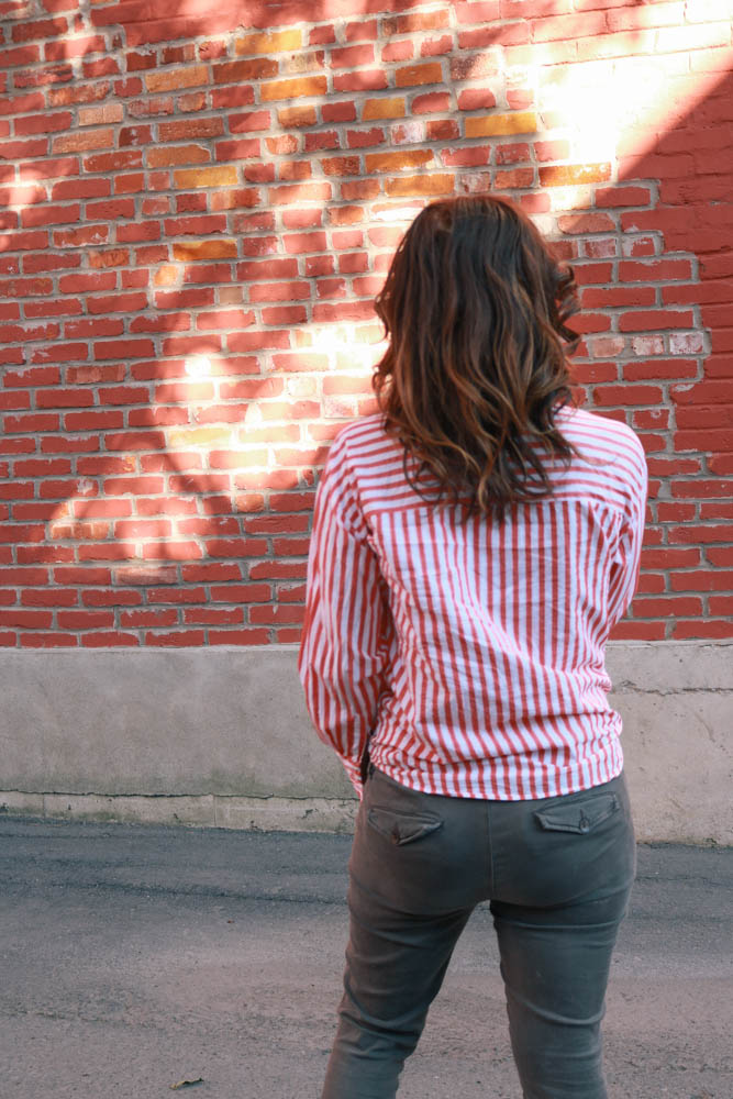 zara summer classic twist on button down stripe shirt