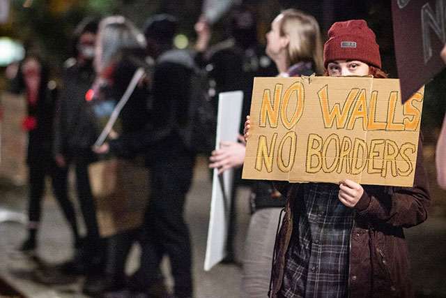 Protesters in Portland, Oregon