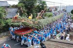 Gigantic dragon carried by 300 men for Rain Praying Festival Tsurugashima