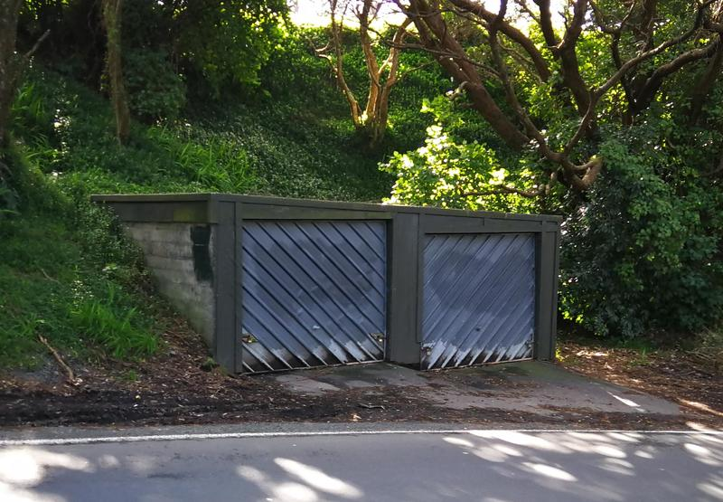 Two standalone car garages in a leafy setting.