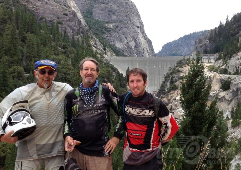 Frank, Bungee Brent and Kiran (a madman on his WR450!) mug it up in front of Donelle Lake Dam.