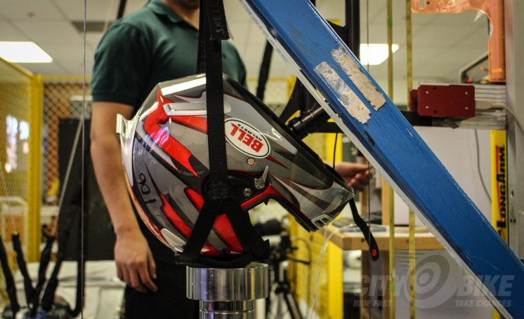Motorcycle helmet testing in Bell's lab in Scotts Valley, California. Photo: Angelica Rubalcaba.