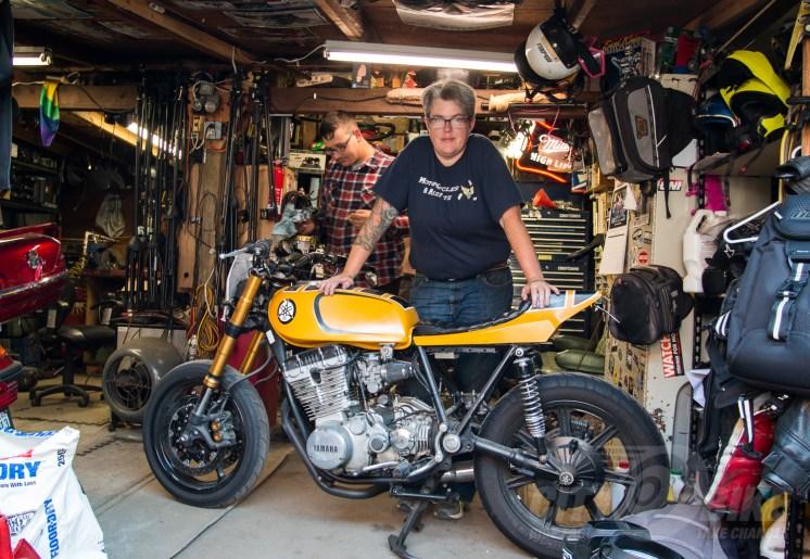 Liza with one of her bikes at the Re-Cycle Garage in Santa Cruz. Photo: Angelica Rubalcaba.