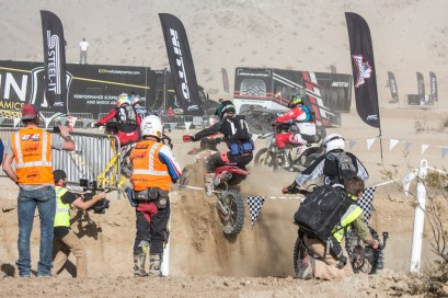 The race start gave racers a five-foot run-up to a four-foot wall - King of the Motos 2018.