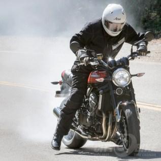 2018 Kawasaki Z900RS does good burnouts. Photo: Max Klein.