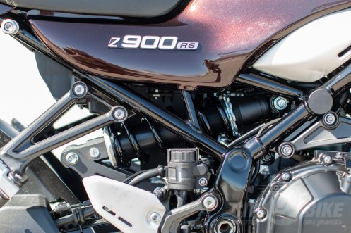 """Horizontal back-link rear suspension"" places the KYB shock and linkage above the swingarm - 2018 Kawasaki Z900RS."