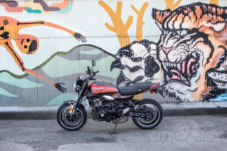 Our Z900RS poses in front of an Oakland mural. Photo: Surj Gish.