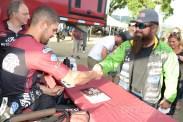 Brad Baker meets a fan at the 2018 Calistoga Half-Mile.