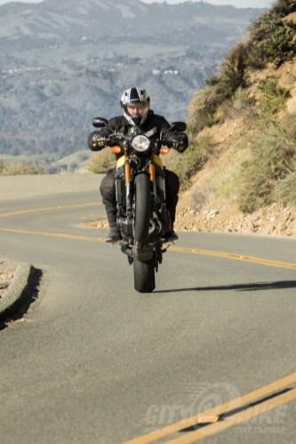 Wheelies for safety on Yamaha XSR900.