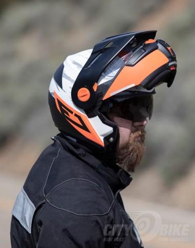 Schuberth E1 Modular Adventure Helmet, side view (open)