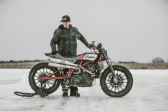 Brad Baker with the Indian FTR 1200 custom. Photo: Indian Motorcycle.