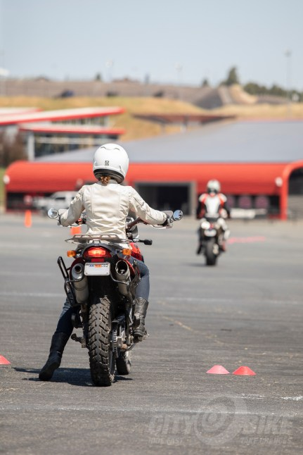 Kerri waits to begin an exercise in the RoadRider 2.0 course, aboard her F650GS Dakar.