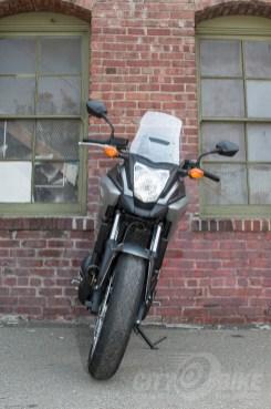 Honda NC700X - front view: headlight, windscreen, wheel. Photo: Angelica Rubalcaba.