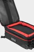 The expandable upper section of RKA's SuperSport 19.5 liter expandable tankbag