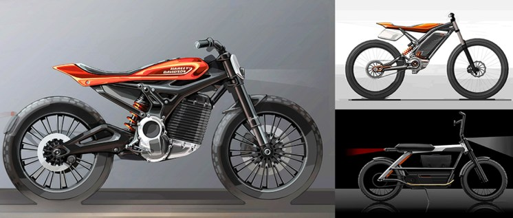 Harley-Davidson electric motorcycle design drawings