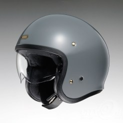 Shoei J•O open-face helmet in rat grey.