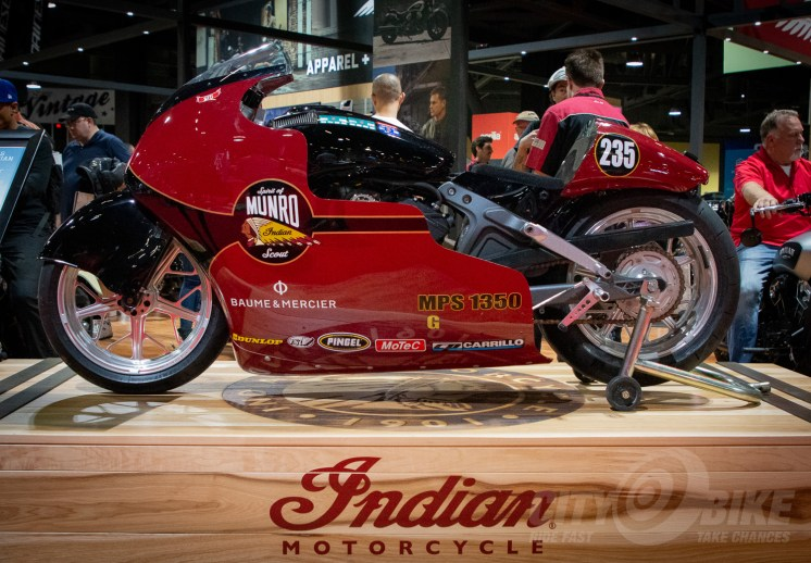 "Indian's Scout-based ""Spirit of Munro"" build at IMS Long Beach 2017."