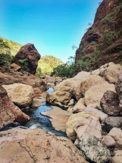 Hiking to waterfalls in Cañón de Tabor.