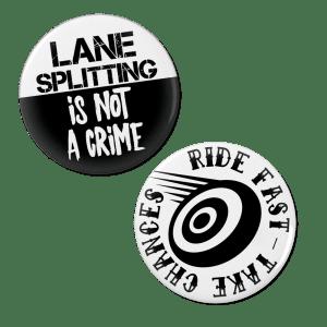 Lane Splitting Pinback Button Set