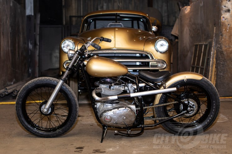 Gold BSA and Chevy at the 2019 One Motorcycle Show.