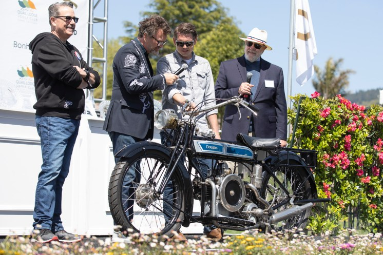 Bill Wheeler's 1928 Douglas 4 1/4 at the 2019 Quail Motorcycle Gathering. Photo: Angelica Rubalcaba.