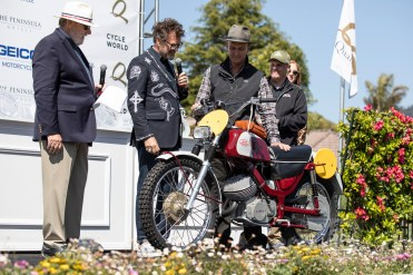 Chris Carter's 1970 Jawa 652 won the AMA Hall of Fame Heritage award at the 2019 Quail Motorcycle Gathering. Photo: Angelica Rubalcaba.