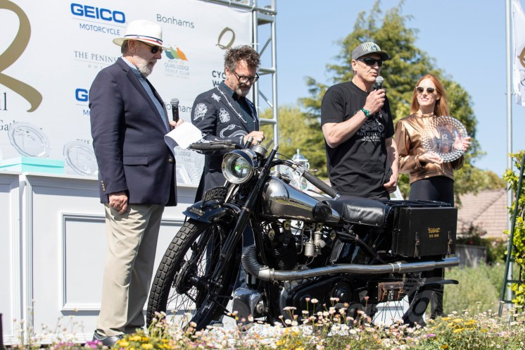 Larry Bowman's 1925 Brough Superior SS100 at the 2019 Quail Motorcycle Gathering. Photo: Angelica Rubalcaba.